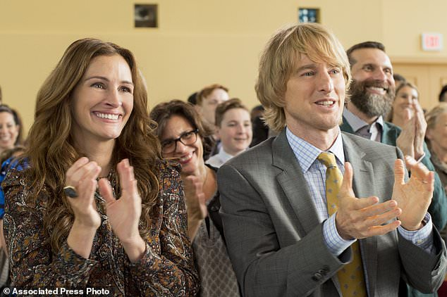 "This image released by Lionsgate shows Julia Roberts, left, and Owen Wilson in a scene from ""Wonder."" (Dale Robinette/Lionsgate via AP)"